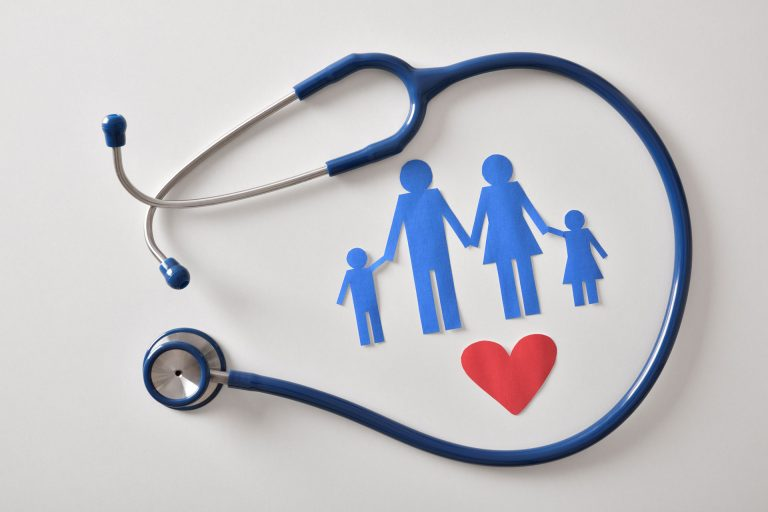 Graphic of Stethoscope surrounding family with a heart